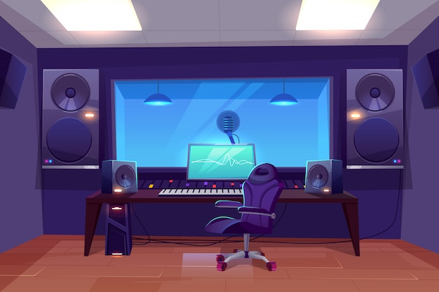 Рекорд продюсер или аудиоинженер на рабочем месте Бесплатные векторы