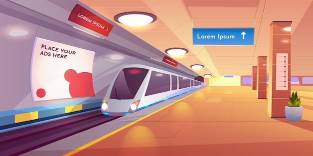 Подземный интерьер с картой и рекламными баннерами. Бесплатные векторы