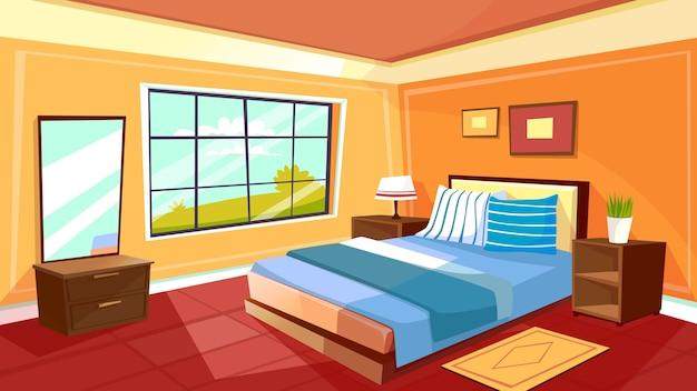 漫画のベッドルームのインテリアの背景テンプレート。朝の光の中で居心地の良いモダンなハウスルーム 無料ベクター