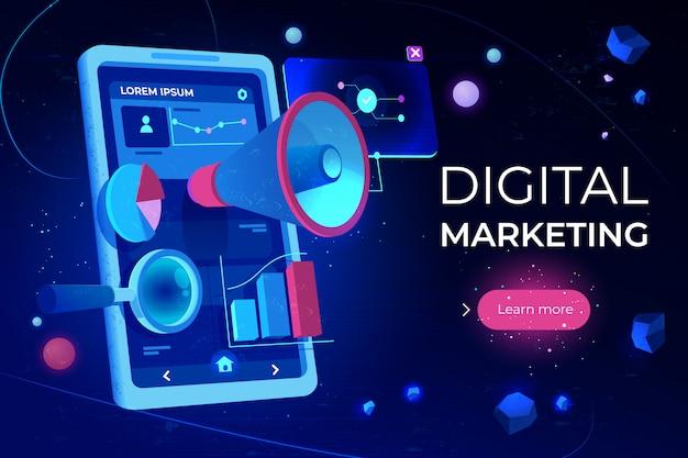 デジタルマーケティングのランディングページ 無料ベクター