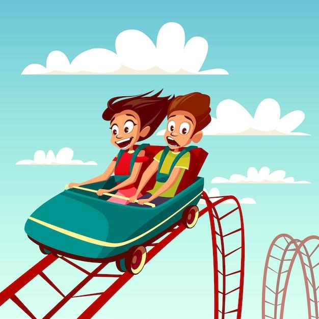 ローラーコースターに乗っている子供たち。少年と少女はジェットコースターで速く乗っています。 無料ベクター