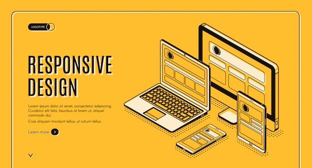 レスポンシブデザインのランディングページ、ページ構築 無料ベクター