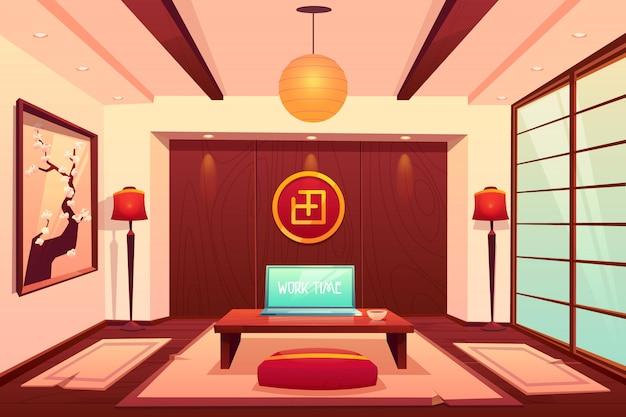 アジアンスタイルの部屋、空のアパートのインテリア 無料ベクター