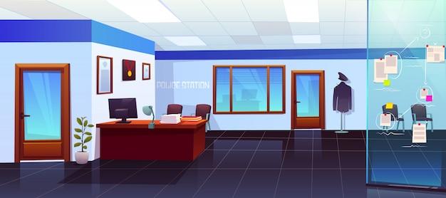証拠ボードと警察署の部屋のインテリア 無料ベクター