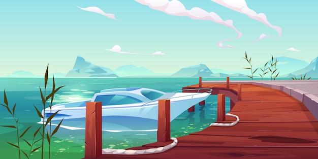 Лодка, яхта, пришвартованная к деревянному пирсу на реке или озере Бесплатные векторы