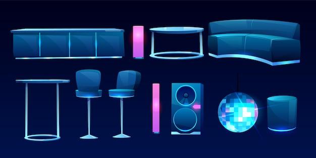Мебель для ночного клуба или бара, дизайн интерьера Бесплатные векторы