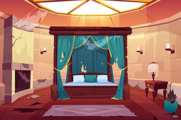 城または宮殿の寝室。空の日当たりの良いアパート 無料ベクター