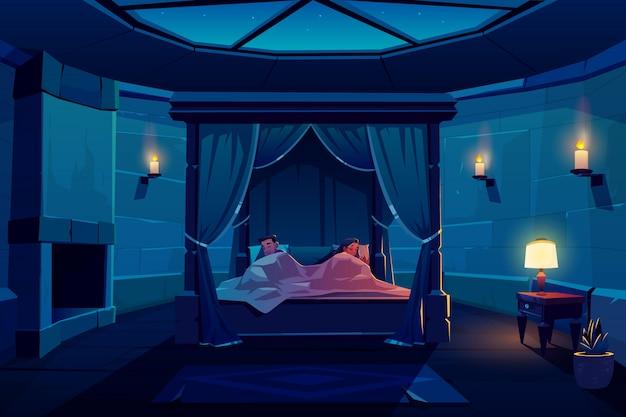 Молодая пара спит в постели с балдахином в замке Бесплатные векторы