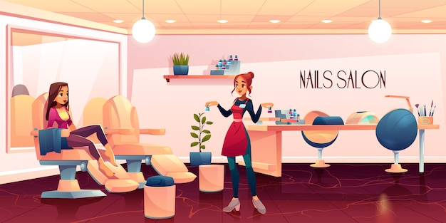 Женщина в салоне педикюра для ухода за ногтями Бесплатные векторы