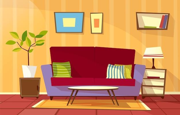 漫画リビングルームのインテリアの背景テンプレート。居心地の良いアパートのコンセプト。 無料ベクター