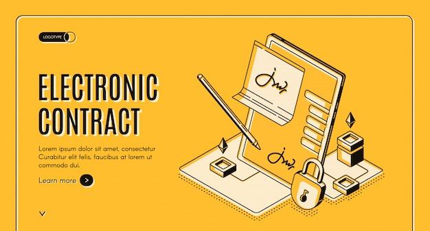 電子契約等尺性バナー、 無料ベクター