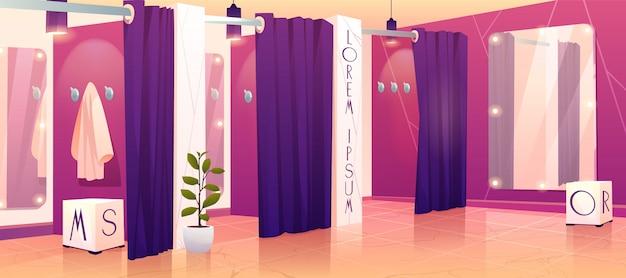 Иллюстрация примерочных магазинов одежды Бесплатные векторы