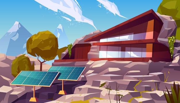 ソーラーパネルと有機建築エコハウス 無料ベクター