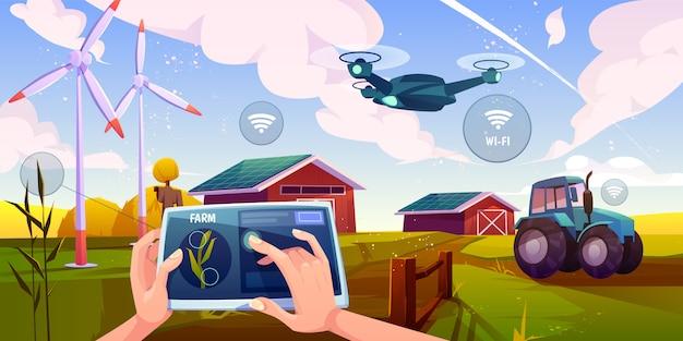 Футуристические технологии на ферме Бесплатные векторы