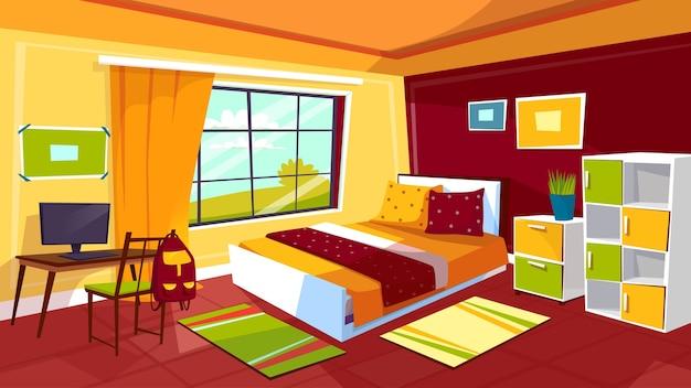 ティーンエージャーの女の子や男の子ルームのインテリアの背景のベッドルームのイラスト。 無料ベクター
