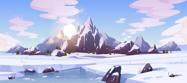 Северный природный ландшафт с горами Бесплатные векторы