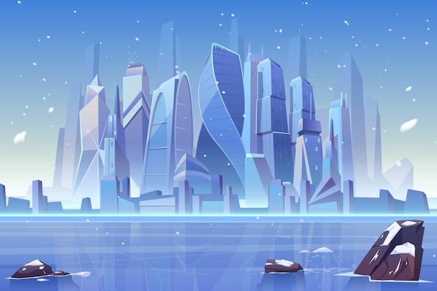 冷凍湾で冬の街のスカイライン 無料ベクター
