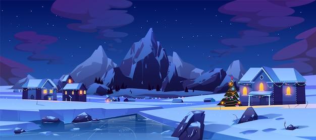 Рождественская ночь в горном городе или канаде Бесплатные векторы