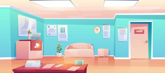 Интерьер коридора пустой клиники Бесплатные векторы