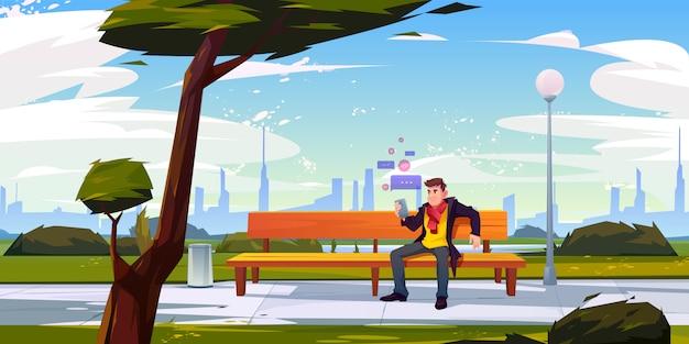 Человек с смартфон, сидя на скамейке в городском парке Бесплатные векторы