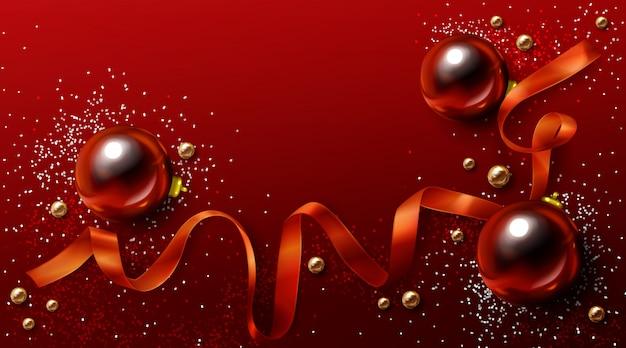 赤と金のクリスマス背景、クリスマス休暇の背景 無料ベクター