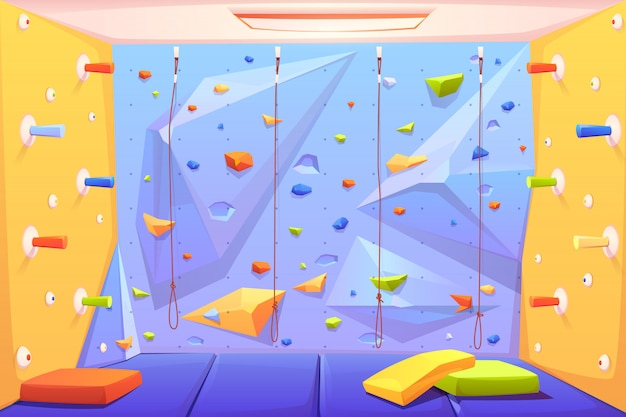 Стена для скалолазания с ручками, ковриками и веревками Бесплатные векторы