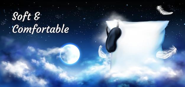 Подушка с завязанными глазами в ночном небе с полной луной Бесплатные векторы