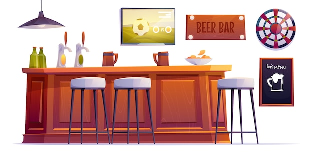 Пивной бар, паб с бутылками и чашками Бесплатные векторы