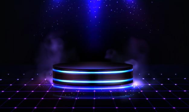 Неоновый подиум с дымом и блестками Бесплатные векторы