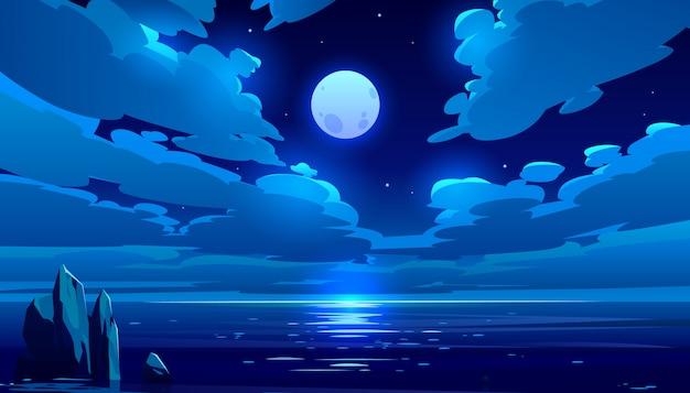 満月の夜の海漫画イラスト 無料ベクター