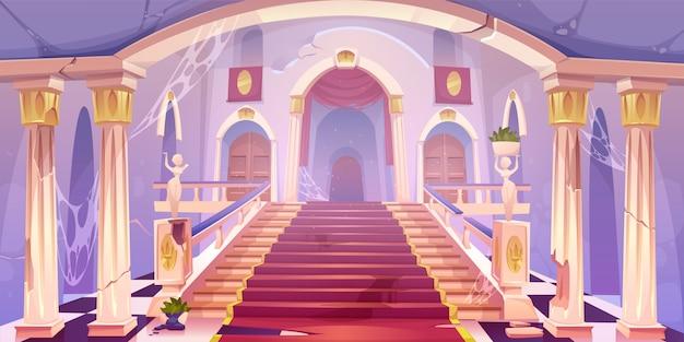 Заброшенная иллюстрация лестницы замка Бесплатные векторы