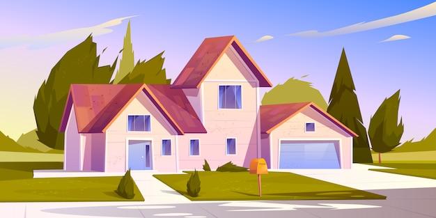 郊外の家の図 無料ベクター