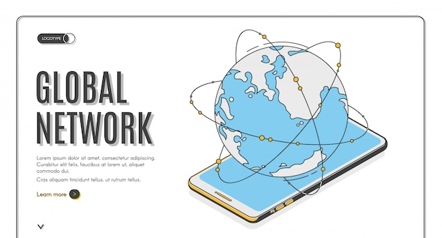 Глобальная сеть изометрической целевой страницы или шаблон баннера. земной телефон Бесплатные векторы