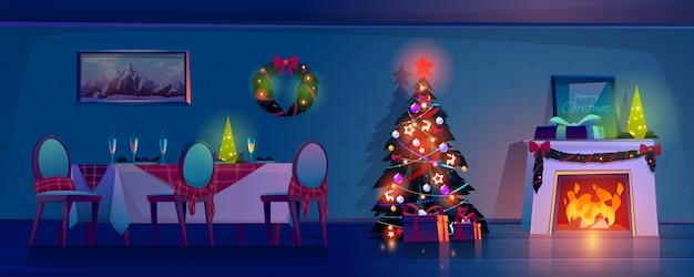 Комната в рождественскую ночь, пустой интерьер дома. Бесплатные векторы