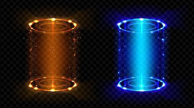 Волшебный портал фэнтези, футуристическая голограмма телепорта Бесплатные векторы