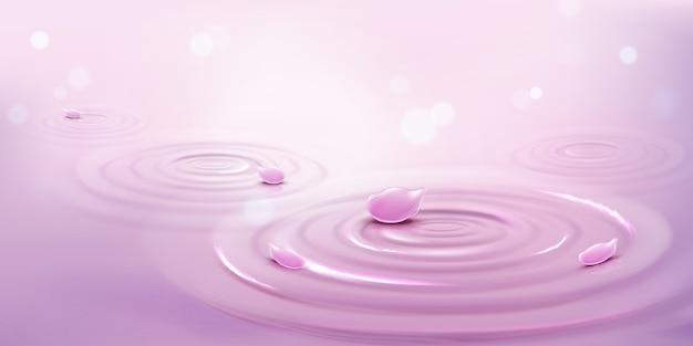 Круги на воде и розовые лепестки цветов, фон волны Бесплатные векторы
