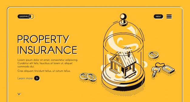 財産保険の等尺性ランディングページ。不動産ビルはガラスのドームの下にあり、鍵とお金が散らばっています。住宅事故防止サービス 無料ベクター