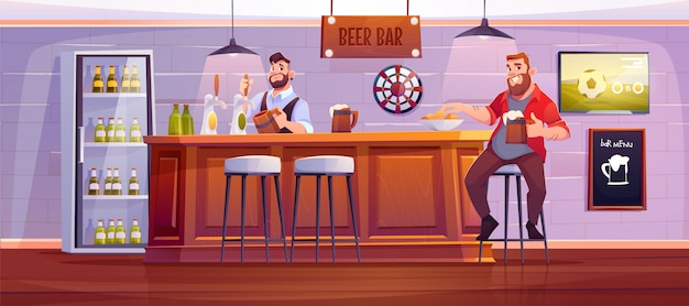 Человек в пивном баре. посетитель в пабе сидит на высоком стуле за деревянным столом, а бармен наливает напиток в чашку. мультфильм иллюстрация Бесплатные векторы