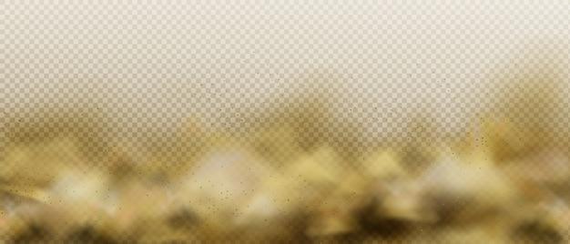 Пыльное песчаное облако, коричневое загрязнение воздуха, туман или дым Бесплатные векторы