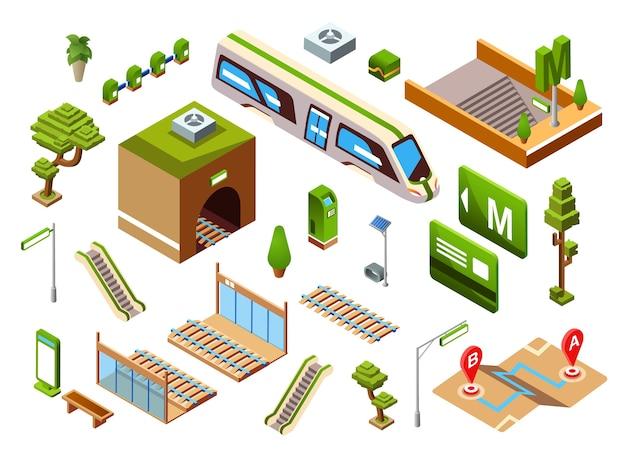 地下鉄または地下鉄の鉄道輸送要素の地下鉄駅の図 無料ベクター