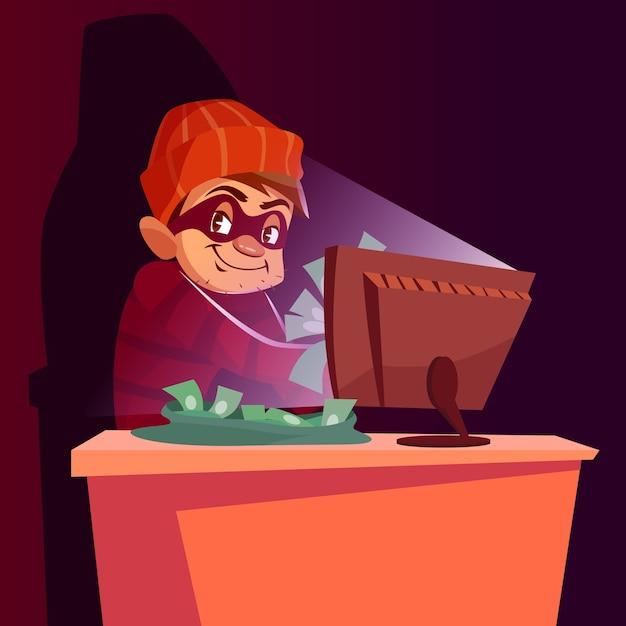 コンピュータの詐欺師インターネットハッカーの詐欺のイラスト。 無料ベクター