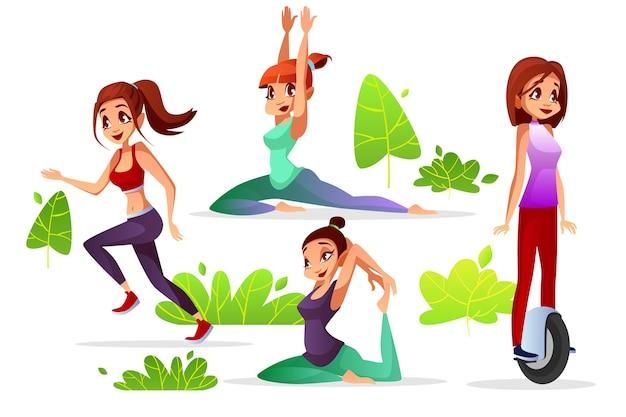 公園のジョギングやヨガ、スポーツ運動に乗っている若い女の子の女性のレジャー 無料ベクター