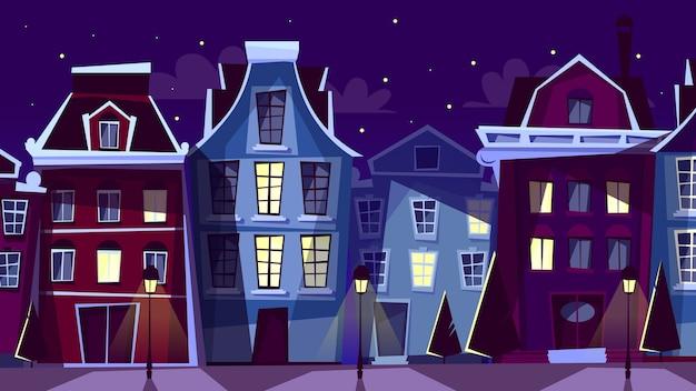 Амстердам городской пейзаж иллюстрации. мультфильм амстердам ночные улицы и дома Бесплатные векторы