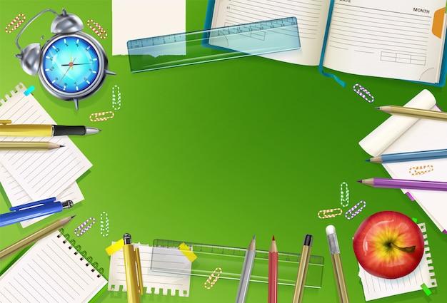 緑の背景に教育の文房具の学校への図を返します。 無料ベクター