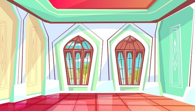 庭の眺めに窓がある王宮のホールのボールルームのイラスト。 無料ベクター
