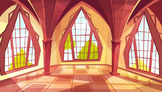 形の窓付きボールルームロイヤルゴシック様式の宮殿のホールまたは王室のイラスト 無料ベクター