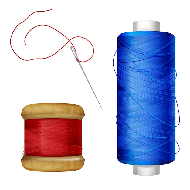 ミシン糸のスプール図。木とプラスチックのスプールに青と赤のスレッド 無料ベクター