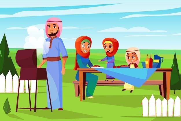 バーベキューピクニックのイラストでアラビア人の家族。サウジアラビアのイスラム教徒父の漫画 無料ベクター