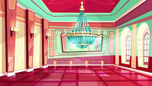 王室の家具を持つ漫画の城宮殿のボールルームのインテリアの背景 無料ベクター