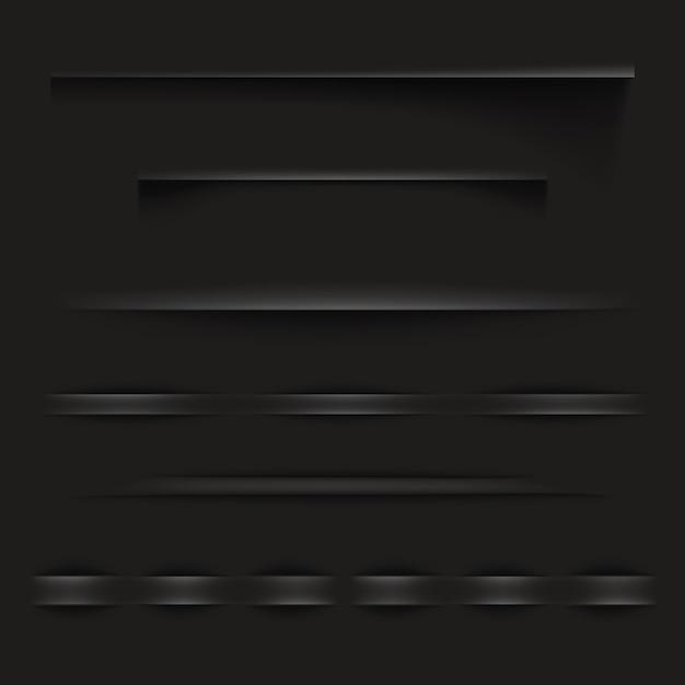 黒い紙の影やウェブサイトの現実的なテクスチャ効果を持つページの境界線 無料ベクター
